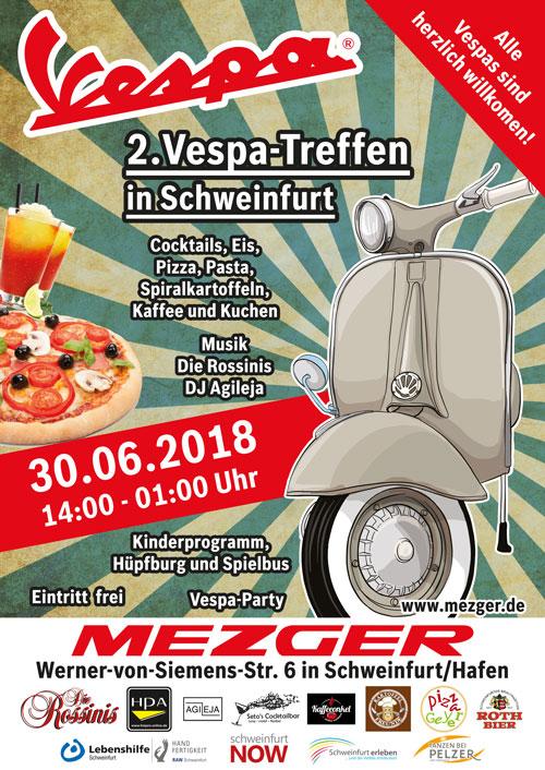 2. Vespa Treffen in Schweinfurt 30.06.2018 Plakat